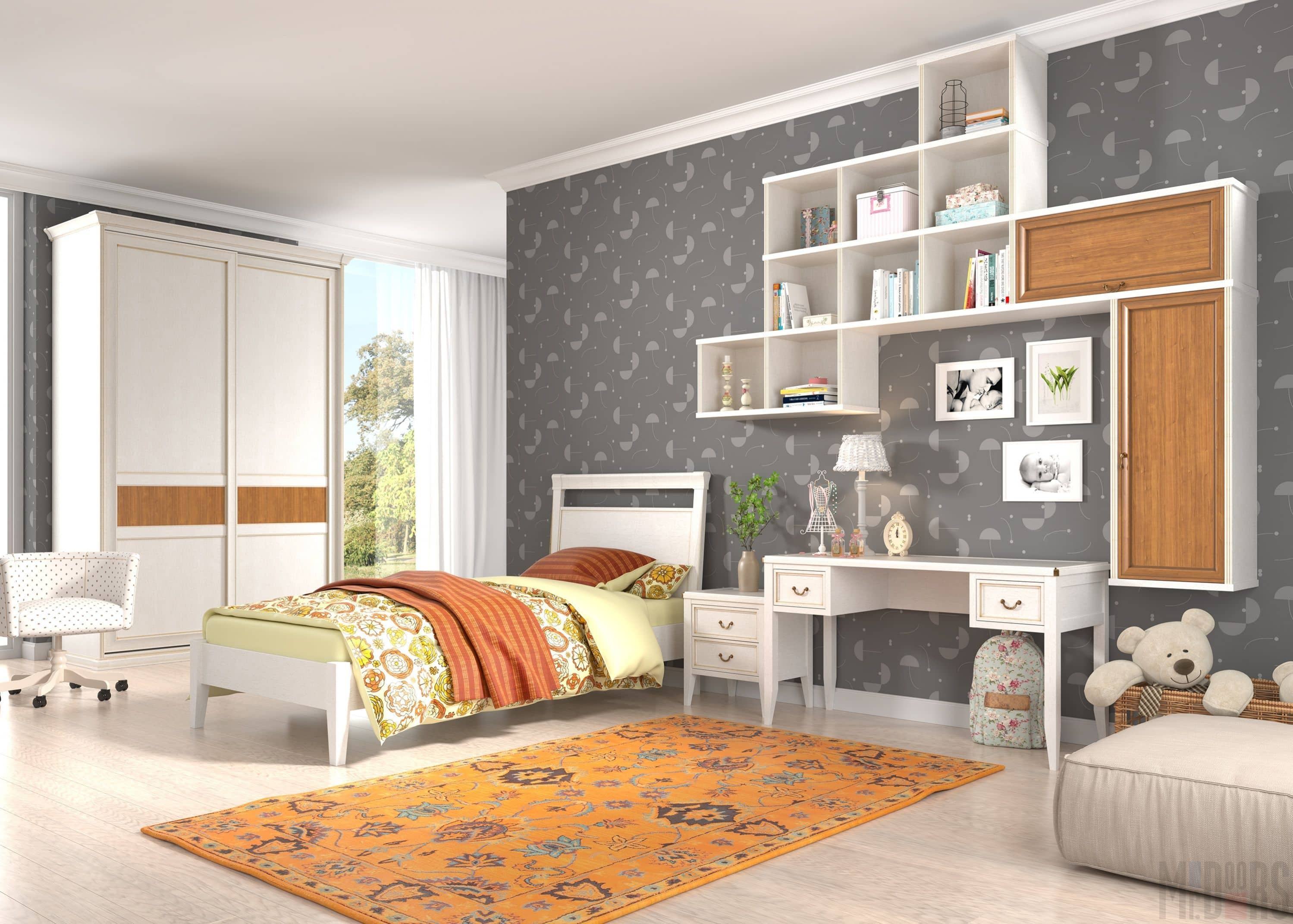 Современная классика: спальня для девочки-подростка